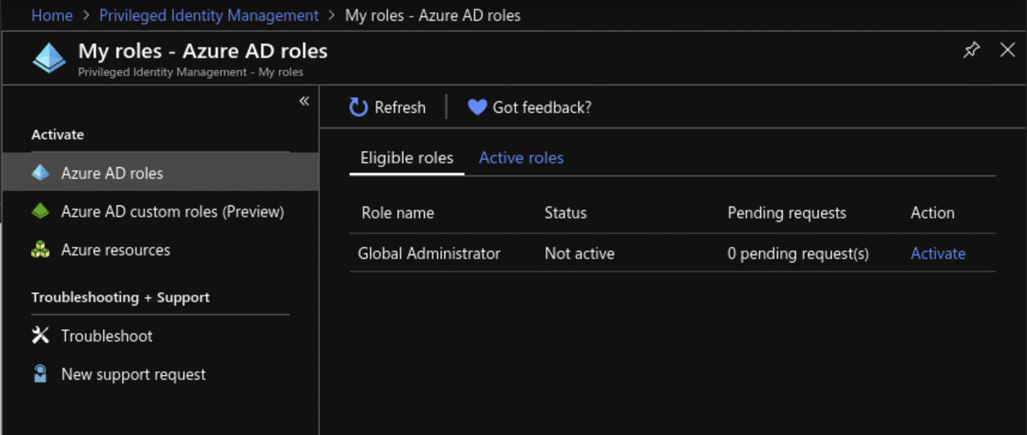 My roles - Azure AD roles